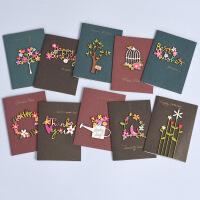 复古木雕贴片迷你祝福感谢贺卡 儿童生日感谢小卡片 六一儿童节贺卡