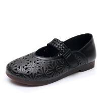 民族风牛皮复古手工女鞋2019夏季妈妈鞋镂空凉鞋真皮防滑老人皮鞋 黑色(正码,标准尺码) 花王8022