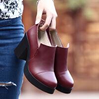 单鞋女新款英伦学院风学生百搭布洛克女鞋韩版单鞋高跟时尚的小皮鞋工作鞋