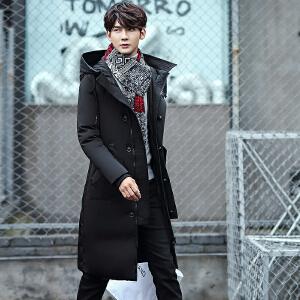 举翼王子冬季新款男士中长款羽绒服连帽加厚外套潮时尚帅气青年款男装
