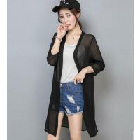 防晒衣女 沙滩衣女 新款韩版修身女装雪纺衫长袖女士薄空调衫打底衫上衣