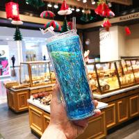 水杯 创意简约菱形亮片水杯男女学生吸管双层塑料杯网红ins时尚便携运动杯子果汁杯