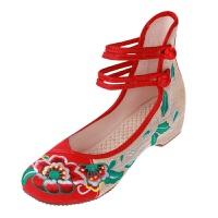 老北京布鞋女绣花鞋民族风牛筋底坡跟汉服搭配鞋子妈妈广场舞蹈鞋 高帮芙蓉花-红色 34