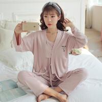 春秋月子服纯棉三件套装哺乳睡衣产后时尚家居服夏季孕产妇喂奶衣