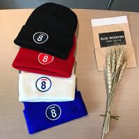 青年冬季帽子韩国毛线帽保暖冬季帽男情侣百搭字母刺绣套头帽加厚