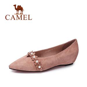 Camel/骆驼女鞋 新款优雅花朵平底单鞋女尖头内增高单鞋