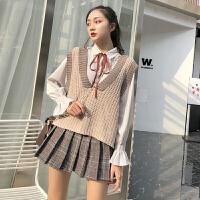 女神范套装裙春装新款韩版针织马甲+衬衫+格子半身裙时尚三件套女