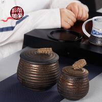 粗陶鎏金螺纹茶叶罐 密封复古创意普洱茶存放罐家用装茶叶的容器