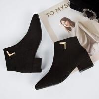 秋冬新款马丁靴女英伦风chic短靴女粗跟中跟尖头女短靴切尔西靴潮