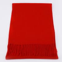 批发定制印logo刺绣仿羊绒大红色围巾同学聚会中国红公司