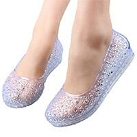 塑料凉鞋女夏防滑平底水晶果冻鞋沙滩鞋糖果色洞洞鞋双层底