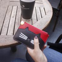 韩国皮零钱包女牛皮可爱猫猫短款小钱包薄迷你硬币包拉链散钱包