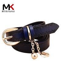 莫尔克(MERKEL)新款时尚女士真皮头层牛皮细吊坠皮带女式腰带窄裤带百搭装饰时尚腰带