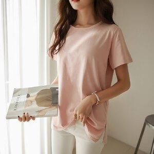 卡茗语夏季新款韩范竹节棉宽松t恤女短袖半袖中长款上衣纯色开叉打底衫