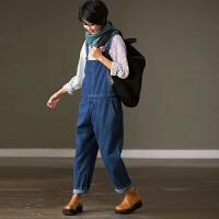 米可可 N8211B 通勤韩版高腰显瘦明线口袋直筒牛仔背带长裤女