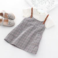 女童连衣裙夏装2018新款韩版假两件儿童背带短袖裙子宝宝连衣裙 白色