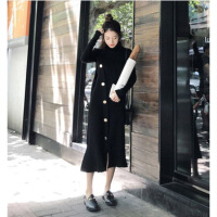 小个子穿搭法式少女长裙毛衣配酷酷的裙子两件套装初恋连衣裙秋冬 黑色