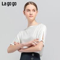 【10.16-10.17 2件3折价:84.3元】Lagogo/拉谷谷2019夏季新款时尚一字领镂空短袖上衣女IASS