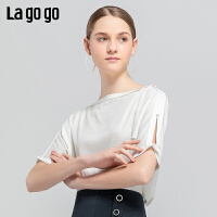 Lagogo/拉谷谷2019夏季新款时尚一字领镂空短袖上衣女IASS334A14