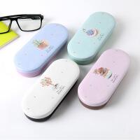 【包邮】日韩男女学生马口铁近视眼镜盒可爱便携墨镜太阳镜收纳盒送布