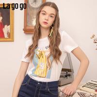 【秒杀价89】Lagogo/拉谷谷2019夏季新款手工钉珠人物印花T恤女IATT314F09