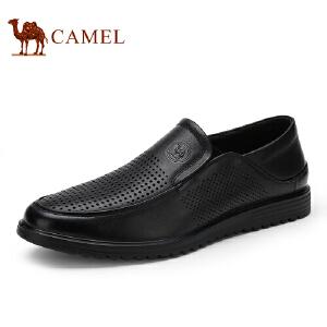 骆驼牌 男鞋 新品镂空透气牛皮男鞋便捷套脚休闲鞋男