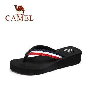 camel骆驼女鞋  夏季新款时尚百搭女生人字拖海边条纹坡跟沙滩拖鞋