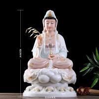 汉白玉观音菩萨佛像手工彩绘娑婆三圣坐像石雕镶金观世音佛像摆件