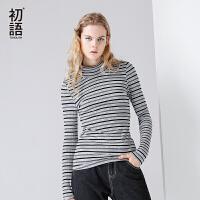 初语2017秋装新款  印花深浅条纹高领修身长袖T恤女打底衫