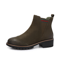 camel骆驼女鞋秋冬新款简约英伦风女靴中跟短靴子切尔西靴