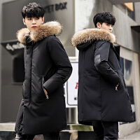 新款大码男士羽绒服男中长款加厚修身款青年韩版冬季男装外套潮