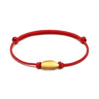 粤通珠宝3D硬金红绳手串老鼠爱大米鼠年有米足金999黄金米粒手链