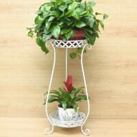 养绿萝的花架欧式铁艺多层绿萝吊兰阳台子地面客厅室内落地花盆架 白色(两层 高80cm)花瓶款