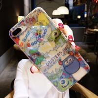 透明苹果6plus手机壳超薄情侣8iphone7防摔6s潮牌网红八x 6/6s 透明蓝光大眼仔迈克
