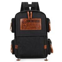 男生双肩包女士韩版休闲帆布背包大容量高中学生书包16寸电脑包潮 黑色 方标