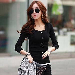 2017新款韩版方领大码女装纯棉打底衫女式长袖t恤衫拼接上衣HN6159