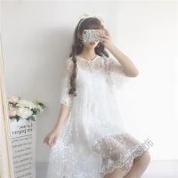 甜美少女心仙女裙花朵喇叭袖蕾丝连衣裙女夏装韩版两件套裙子 图片色 均码