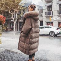 大毛领过膝加厚格子羽绒女中长款韩版2018冬季新款宽松棉袄潮 图片色