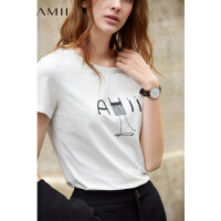 【1件5折到手价76.5】Amii极简chic潮ulzzang港风白色T恤2019春新百搭字母印花短袖上衣