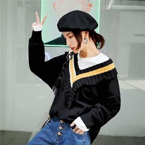 七格格大V领卫衣秋装女新款拼接韩版宽松潮学生长袖套头上衣
