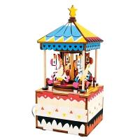 [当当自营] 乐嘉 创意礼品 音乐盒玩具 3D立体拼图DIY风格手工拼插八音盒 旋转木马AM304