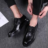 新款男士英伦皮鞋黑色系带商务休闲鞋内增高百搭正装西装皮鞋