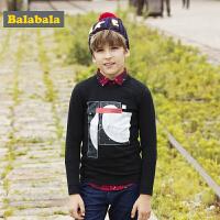 巴拉巴拉童装男童长袖T恤中大童儿童秋装2017新款纯棉印花打底衫