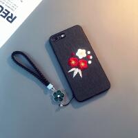 简约iphone8plus手机壳刺绣苹果Xs Max挂绳i7防摔8X保护套6sp女款 6/6s 4.7寸(黑色)