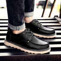 新款休闲鞋秋季配牛仔裤短靴棕色工装鞋男大头皮鞋英伦潮流街拍户外休闲单鞋