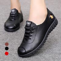 新款秋季妈妈鞋休闲平底女单鞋中老年人软底工作皮鞋豆豆鞋子