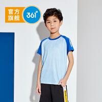 361度童装 男童短袖中大童2020夏季新款撞色短袖T恤儿童透气速干针织衫