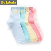 巴拉巴拉童装女童袜子中大童童袜2017春季新款袜儿童棉袜女5双装
