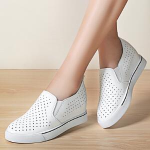 ZHR2017春季新款真皮乐福鞋女厚底休闲鞋内增高女鞋韩版平底单鞋L08
