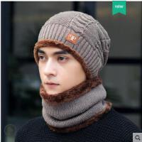 毛口套头帽时尚贴标棉帽子韩版男士保暖毛线帽加绒护耳围脖针织帽子